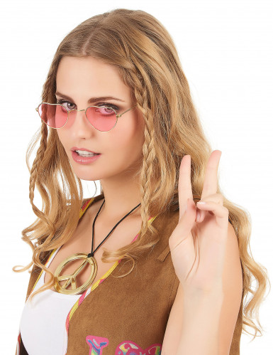 Occhiali rosa con montatura a cuore per adulto-1