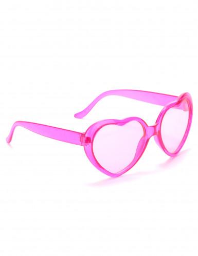Occhiali a cuore rosa di plastica