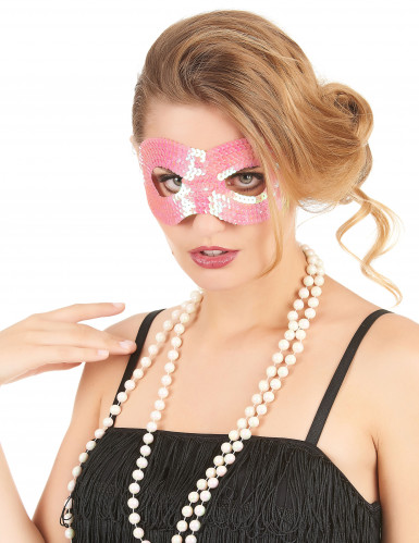 Mascherina con paillettes rosa arrotondata