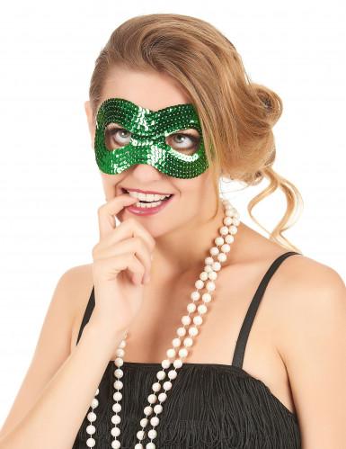 Maschera verde con paillettes arrotondata