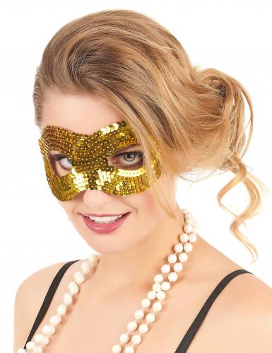 Mascherina veneziana dorata con paillettes per adulto