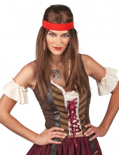 Parrucca da pirata con capelli lunghi e bandana