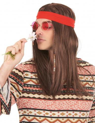 Parrucca da pirata con capelli lunghi e bandana-1