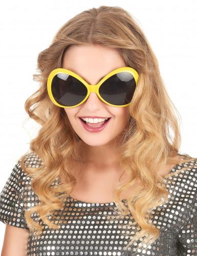 Occhiali disco maxi gialli adulto-1