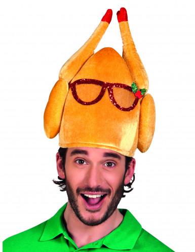 Cappello tacchino con occhiali umoristico adulto Natale