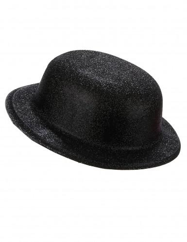 Cappello bombetta in plastica con paillettes nero per Adulto