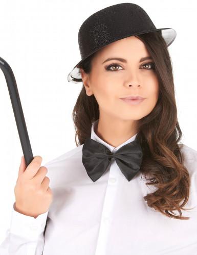 Cappello bombetta in plastica con paillettes nero per Adulto-1