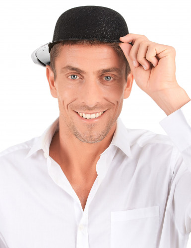 Cappello bombetta in plastica con paillettes nero per Adulto-2