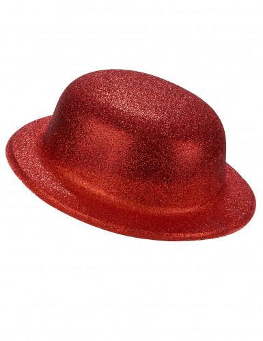 Cappello bombetta in plastica con paillettes rosso per Adulto