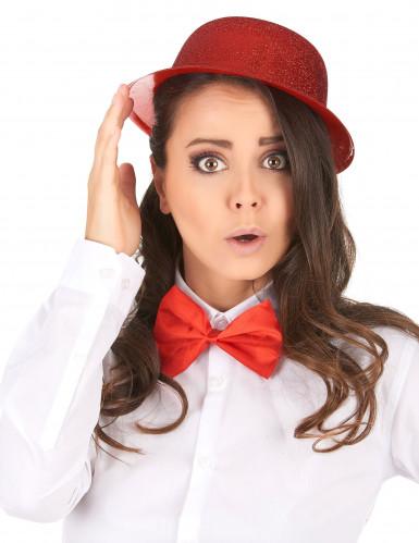 Cappello bombetta in plastica con paillettes rosso per Adulto-1