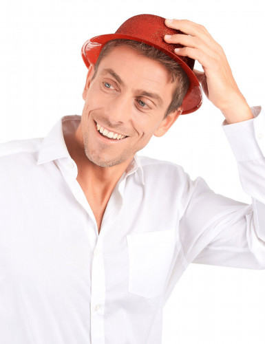 Cappello bombetta in plastica con paillettes rosso per Adulto-2