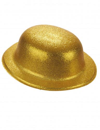 Cappello melone in plastica con paillettes dorato per Adulto