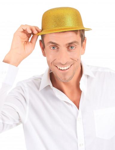 Cappello melone in plastica con paillettes dorato per Adulto-2