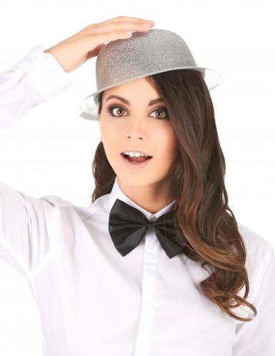 Cappello bombetta in plastica con paillettes argentato per Adulto-1