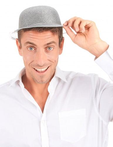 Cappello bombetta in plastica con paillettes argentato per Adulto-2