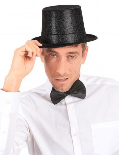 Cappello cilindro in plastica con paillettes nero per Adulto-2