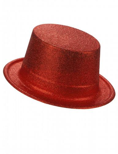Cappello cilindro in plastica con paillettes rosso per Adulto
