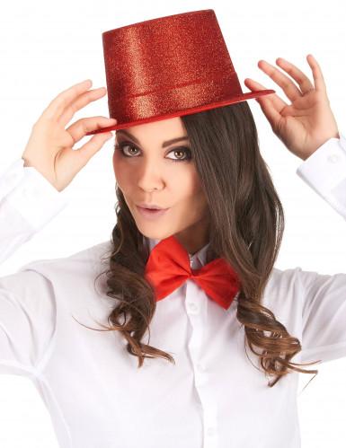 Cappello cilindro in plastica con paillettes rosso per Adulto-1