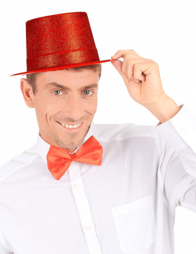 Cappello cilindro in plastica con paillettes rosso per Adulto-2