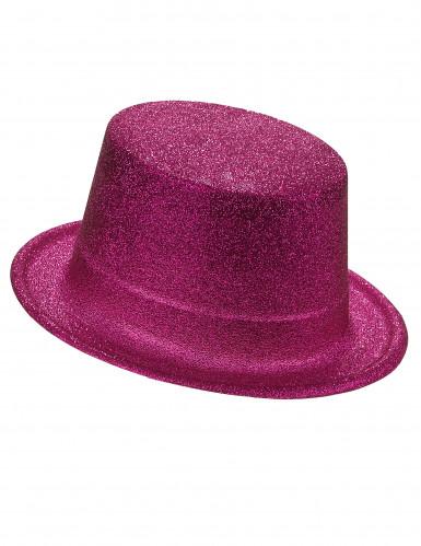 Cappello cilindro in plastica con paillettes rosaAdulto