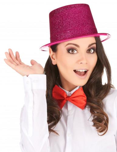 Cappello cilindro in plastica con paillettes rosaAdulto-1