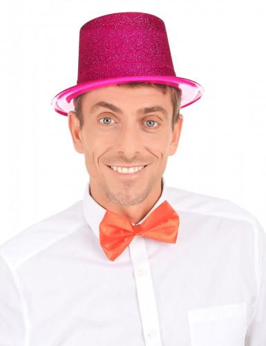 Cappello cilindro in plastica con paillettes rosaAdulto-2
