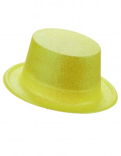 Cappello cilindro in plastica con paillettes giallo per Adulto