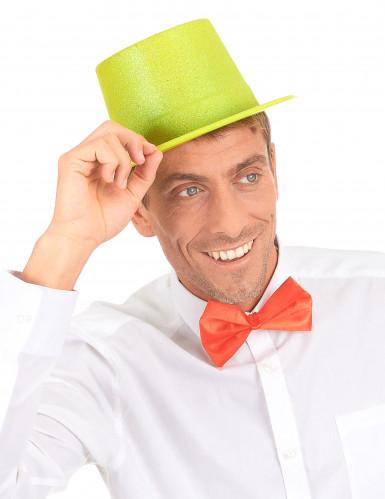 Cappello cilindro in plastica con paillettes giallo per Adulto-2