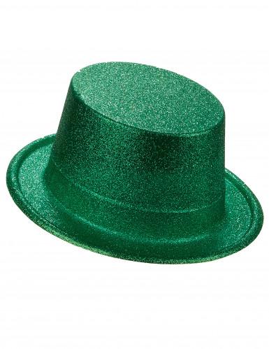 Cappello cilindro in plastica con paillettes verde per Adulto