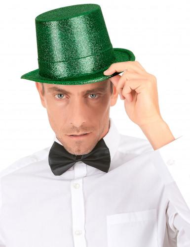 Cappello cilindro in plastica con paillettes verde per Adulto-2