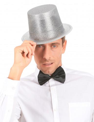 Cappello cilindro in plastica con paillettes argentato per Adulto-2