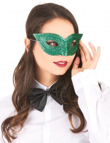 Mascherina con brillantini verde adulto