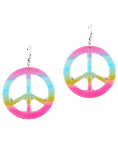 Orecchini peace & love colorati adulto