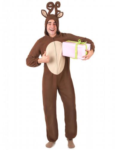 Costume renna con cappuccio Adulto-1