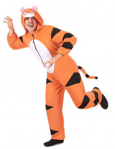Costume tigre con cappuccio Adulto-1