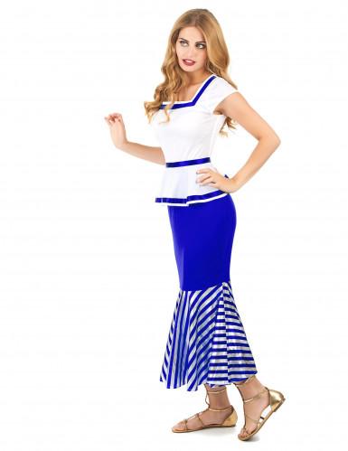 Costume donna gallica bianco e blu adulto-1