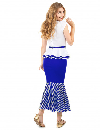 Costume donna gallica bianco e blu adulto-2