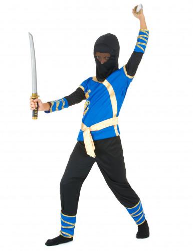 Costume da ninja blu e dorato per bambino-1