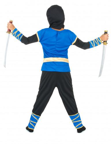 Costume da ninja blu e dorato per bambino-2