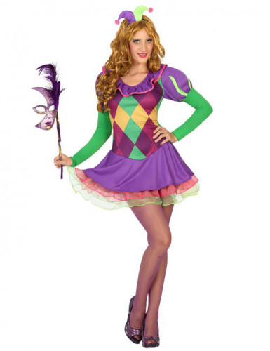 Costume da giullare viola donna