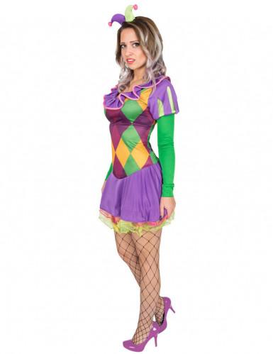 Costume da giullare viola donna-1