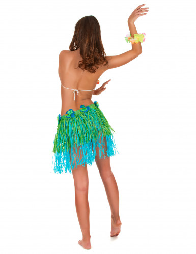 Gonna hawaiana corta verte e blu con fiori adulto-2