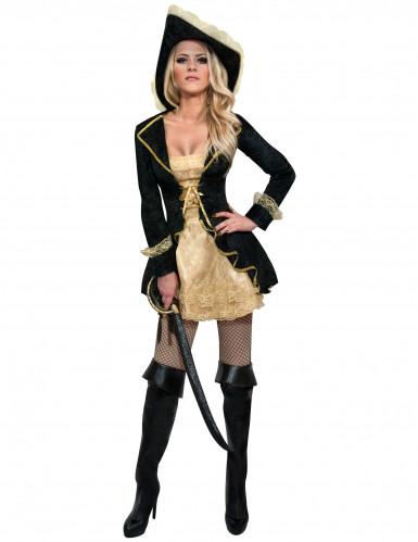 Costume da piratessa barocca nero e dorato per donna