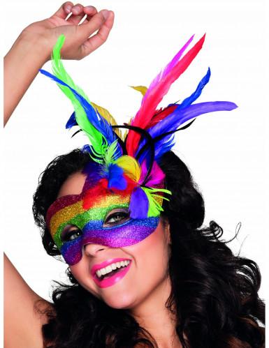 Mascherina veneziana colorata con piume adulto