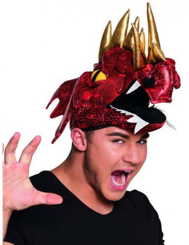 Cappello da dragone rosso cinese per adulto