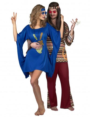 Costume hippie blu da donna-3