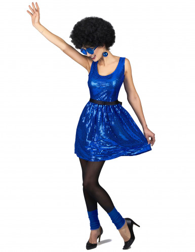 Costume disco anni 80 blu paillettes da donna-1