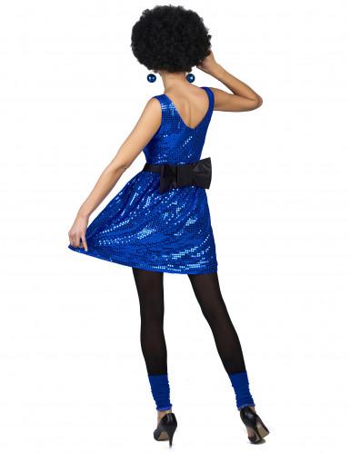 Costume disco anni 80 blu paillettes da donna-2