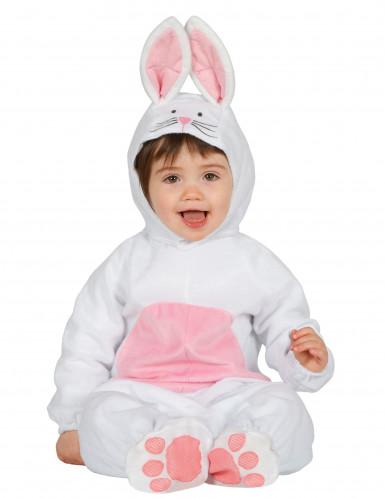 Costume da coniglietto bianco e rosa per neonato