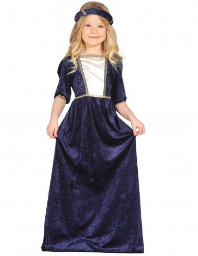 Costume damina medievale blu per bambina